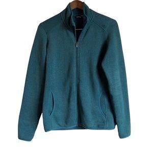 EDDIE BAUER Zip Up Fleece Long Sleeve Cozy Soft Sweater Jacket Top Teal